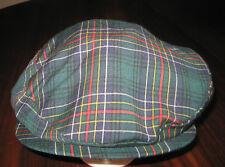Pendleton Plaid Newsboy Cabbie Cap Blue Green Black Size Medium Vintage w/Tags