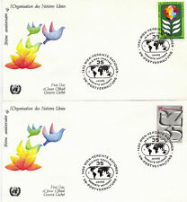 UNITED NATIONS 1980 35th ANNIVERSARY PAIR OF FIRST DAY COVERS GENEVA SHS
