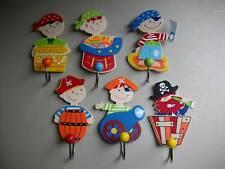 Set 6 freche Haken Piraten Kleiderhaken Garderobe Kinderzimmer Garderobenhaken