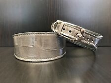 S/M Leather Dog Collar LINED Greyhound Whippet Saluki GREY REPTILE PATTERN