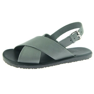 """Alex D """"Largo"""" Men's Slingback Leather Sandal, Made in Italy, Gray"""