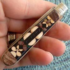 Vintage Antique Karlsbad Inlaid Horn Mosaic Pen Fob Folding Pocket Knife