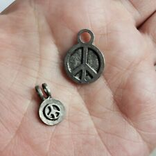 """2 """"PEACE SIGNS"""" scrapbook jewelry charm craft metal Silver Tone New"""