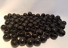 "Lot of 80 Black Wood Round Macrame Wooden Craft Jewelry Beads 13/16"" 20mm"
