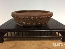 "Awesome Pear Skin Drum Style Heian Kosen Shohin Size Bonsai Tree Pot 4 3/4"""