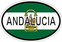 Autocollant sticker ovale oval drapeau code pays andalousia andalousie