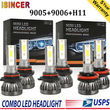 Combo MINI 9005 H11 9006 210W 66000LM LED High-Lo Beam Headlight Kit Bulbs 6000K