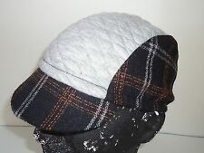 Cycling cap color black wool & gray spandex one size brand new handmade