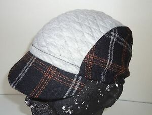 Cycling cap color black wool /& gray spandex one size brand new handmade
