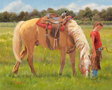 Two of a Kind by June Dudley Kids Children Cowgirl Horse Western Canvas 16x20