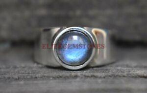 Natural Labradorite Gemstone with 925 Sterling Silver Ring for Men's EG1026