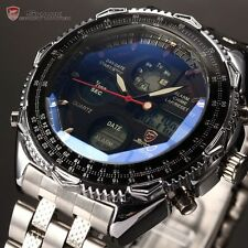 Shark Mens Sport LCD Digital Date Day Stainless Steel Quartz Stylish Wrist Watch
