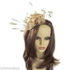 Cappello Fascinator Con Oro Pallido Per Matrimoni/Ascot/Prom, con fascia per capelli T4