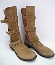 FIORENTINI + BAKER tan suede triple buckled strap Eternity Boots size 38