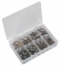 AB043SE Sealey O-Clip Single Ear Assortment 160pc Stainless Steel [Hose Clips]
