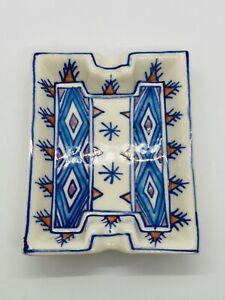 "Vintage Italian Small Rectangular Boho Ceramic Ashtray Trinket Dish 5"" Long"