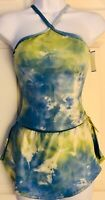 GK ELITE ICE FIGURE SKATE HALTER SET ADULT SMALL VELVET TYE-DYE FOIL Sz AS NWT!