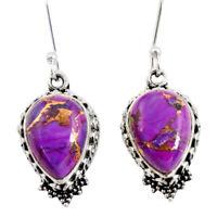 9.62cts Purple Copper Turquoise 925 Sterling Silver Dangle Earrings D40408