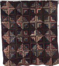 Antique Hand-Pieced Primitive Log Cabin Quilt  No Wear Red Blue Brown 1800s
