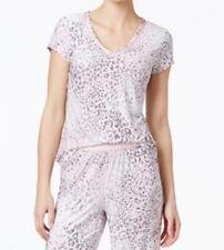 Alfani Women's Animal-Print Short-Sleeve Pajama Top, Pink/Gray/White, XS