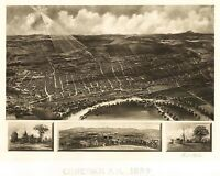 Map Aerial Birds Eye View Concord New Hampshire 1899 Canvas Art Print