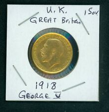 1918-I  INDIA GOLD SOVEREIGN GEORGE V Great Britain UK United Kingdom ENGLAND