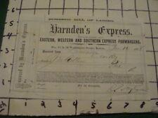 Orig Billhead -- 1868 HARNDEN'S EXPRESS -- Bill of Landing --BOSTON --