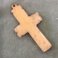 Victorian Pendant Large Crucifix Cross Carved Bovine Bone Antique Edwardian