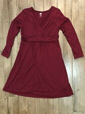 Old Navy Womens Large Maternity Maxi Dress  Empire Waist V-Neck Soft Maroon o1