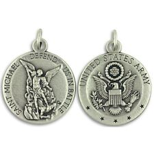 """US Army St Michael Medal 0.75"""" w Rubber 18"""" Necklace NEW Defend Us In Battle"""