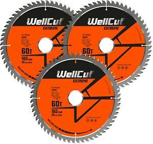 3 x WellCut Plunge TCT Saw Blade 165mm x 60T x 20mm DWS520 DCS520 SP6000 GKT55