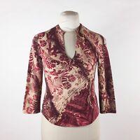 Roberto Cavalli Red Floral Knit Blouse Sz L Wool Blend Gold Glitter Long Sleeve
