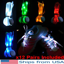 12 Light Up Shoelaces LED Laces 3 Modes Strap Party Glow Shoe Nylon WHOLESALE