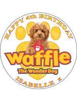 "WAFFLE THE WONDERDOG  PERSONALIZED 7.5"" CIRCLE EDIBLE ICING CAKE TOPPER"