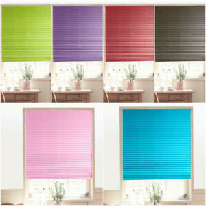 Pleated Window Curtains Shade Darkening Vinyl Blinds Half Blackout Self-Adhesive