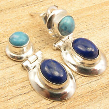 925 Silver Overlay Simulated LARIMAR & LAPIS LAZULI Handwork Earrings 7/8""