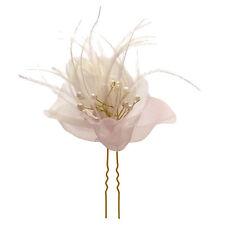 1 épingles piques cheveux chignon mariage mariée organza rose plumes perles