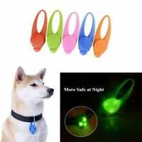 BRIGHT LED Dog Collar Tag Flashing Pet Puppy Luminous Night LIGHT UP Pendant UK