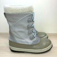 LL Bean Women's Light Gray Winter Waterproof Insulated Duck Snow Boots Size 8