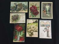 7 vintage postcards Victorian Birthday embossed 1908 cats roses daisy floral