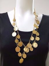 JOAN RIVERS 2-STRAND COLD TONE COIN CHARM NECKLACE LOBSTER LOCK