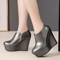 Super High Wedge Heel Platform Flat Pumps Non-slip Round Toe Casual Ladies Shoes