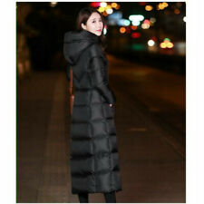 Ladies Long Puffer Coat Jacket Hooded Padded Quilted Outerwear Winter Warm Wear