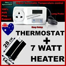 DIGITAL THERMOSTAT + Heat Mat 14x28cm 7W Reptile Hermit Crab Snake Lizard