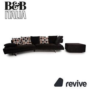 B&B Italia Arne Stoff Sofa Garnitur Grau 1xEcksofa 1xHocker Couch