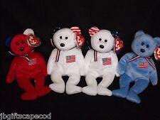 4 Lot - America Bears - Red, White & Blue - Mwmt- Reversed Ears On White - Lqqk!