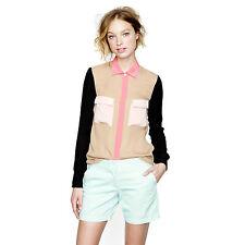 J CREW Collection sz 4 - 6 - 8  (or 0 ) womens silk Colorblock shirt top [#2691]