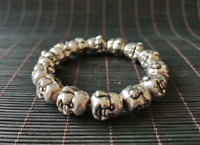 Old Chinese tibet-silver buddha head 14 big beads statue amulet bracelet