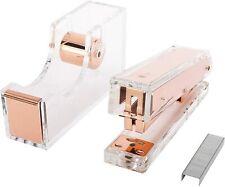 Rose Gold Acrylic Stapler Amp Tape Dispenser With 100 Pcs Staple Gift Set