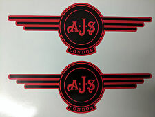 AJS London Stickers x2 A.J.S Decals Logo Tank Motorcycle Vintage Black & RED